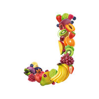 Letter J made of different fruits and berries, fruit alphabet isolated on white background
