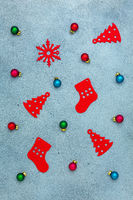Christmas composition with balls and toys.