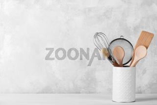 Kitchen shelf with white modern dishware