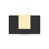 laptop with bag. Internet buying. White background. Marketing icon. Buy illustration. Flat design. EPS 10.