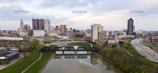 Stormy Afternoon Downtown Urban Core Columbus Ohio