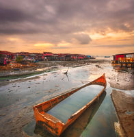 Sunrise at Penang. Boat on the foreground , Malaysia