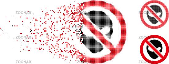 Dispersed Pixelated Halftone Forbidden Alien Icon