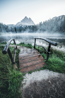 Majestic landscape of Antorno lake with famous Dolomites mountain peak of Tre Cime di Lavaredo in background in Eastern Dolomites, Italy Europe.