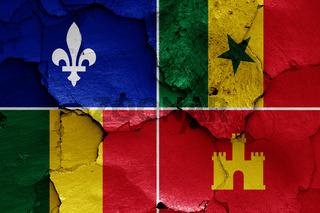 flag of Louisiana Creole painted on cracked wall