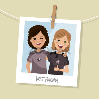 Best friends photo. Two happy girls smilling with short hair. Vector illustration
