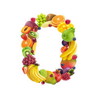Number zero made of different fruits and berries, fruit alphabet isolated on white background