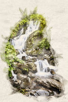 Watercolor small waterfall