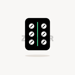 Pack of pills. Icon with shadow on a beige background. Pharmacy vector illustration