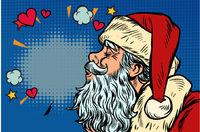 Kiss of love. Santa Claus character, Christmas and New year