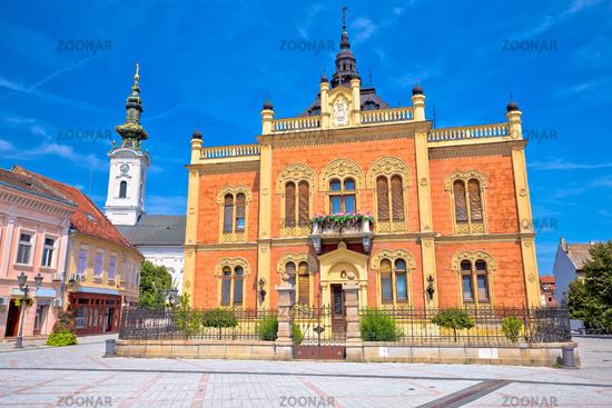 Novi Sad square and church architecture view
