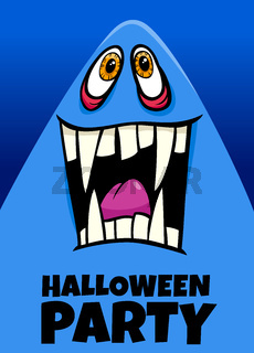 Halloween holiday cartoon poster design with ghost