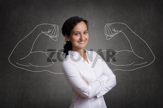 Business woman with muscular arms