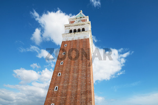 Venice famous landmark. St Mark's Campanile (Campanile di San Marco, ninth century) - famous bell tower of St Mark's Basilica, in st Marks square, Venice, Italy.
