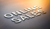 Word online sales written with white solid letters