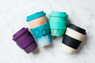 Bamboo reusable cups for coffee or tea to go
