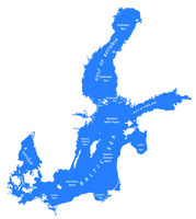 silhouette map of the baltic sea in Northern europe