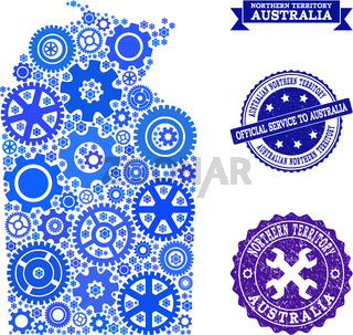 Mosaic Map of Australian Northern Territory with Cogs and Rubber Seals for Service