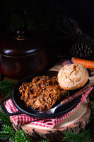 Polish bigos with sausage and dried plum