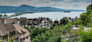 high angle view of the historic old town of Rapperswil with Lake Zurich behind