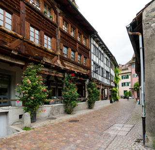 narrow streets with historic houses in the old town of the city of Rapperswil