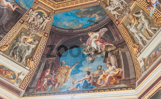 A ceiling of paintings at the Vatican Museum