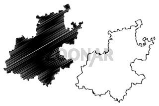 Gauteng Province map vector