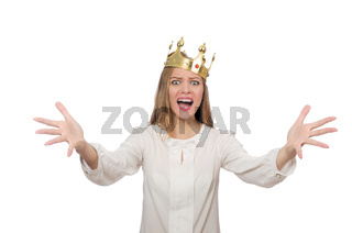 Woman queen wearing crown isolated on white
