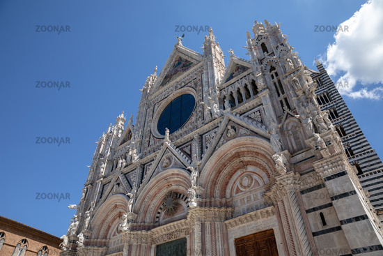 Panoramic facade of Siena Cathedral (Duomo di Siena)