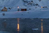 gefrorene Meeresbucht, Hasvik, Soeroeya, Finnmark