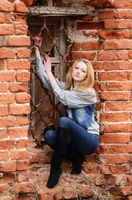 girl against an Old Stone Wall