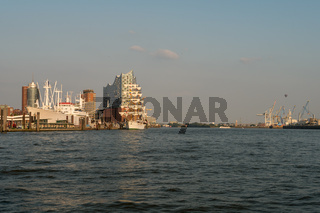 View from ferry at Hamburg Harbour and Hafencity .