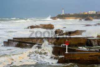 Stormy weather in Biarritz, France