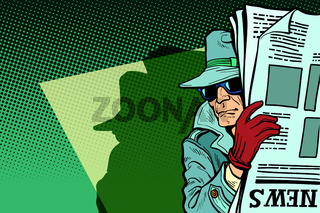 Spy detective in hat and sunglasses, newspaper