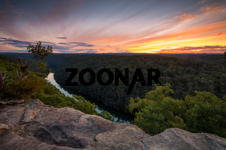 Nepean Gorge and Nepean River at sunset