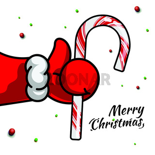 Like Christmas. Santa's Claus hand Thumbs Up symbol icon with candy cane, vector illustration. Icon for Christmas Party and for New Year.