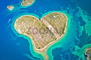 Heart shaped island of Galesnjak in Zadar archipelago aerial view