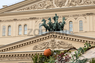 Sculpture of chariots on the facade of the building of The Bolshoi theater in Moscow, built in 1825