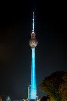 Illuminated landmark ( TV Tower / Fernsehturm) at night during Berlin leuchtet a.k.a. Festival of Lights in Berlin, Germany