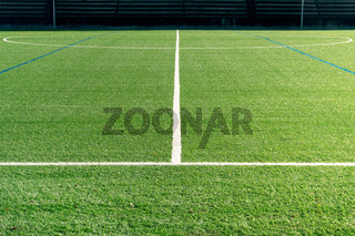Soccer field with a new artificial turf field