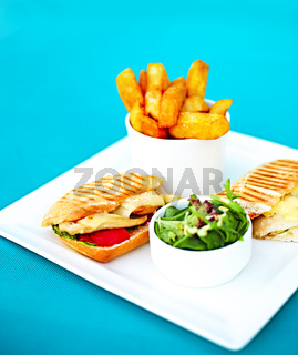 Chicken sandwich with salad and fried potato