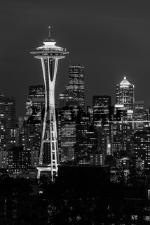 Black and white image of the Seattle Space Needle and other emblematic buildings in the background