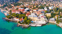 Town of Opatija and Lungomare sea walkway aerial panoramic view
