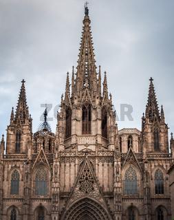 Monumental facade of Santa Creu Cathedral in Barcelona