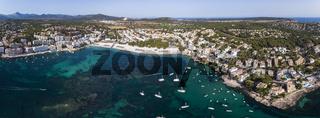 Aerial view, flight to Santa Ponca and the marina, Mallorca, Spain