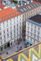 Vienna, Austria January 2, 2018. View from observation platform St. Stephens Cathedral Domkirche St. Stephan architecture square with people walking Christmas holidays downtown, panoramic view high