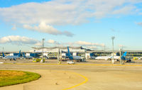 Boryspil airport, airplanes, bus, airfield