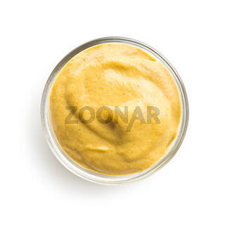 Yellow mustard in bowl