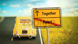Street Sign to Together versus Apart