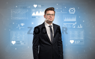 Sick businessman with medical research concept
